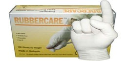 Rubbercare Lightly Powdered Latex Exam Gloves
